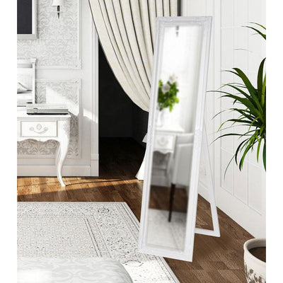 Tuscany Ornate Cheval Mirror Glosss White 160x40cm