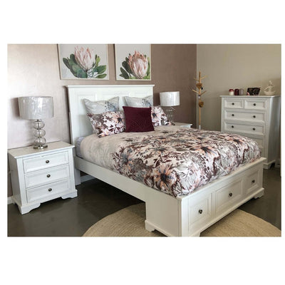 Oslo 4 Piece Queen Suite White Gloss Timber may display minor cracking & imperfections.