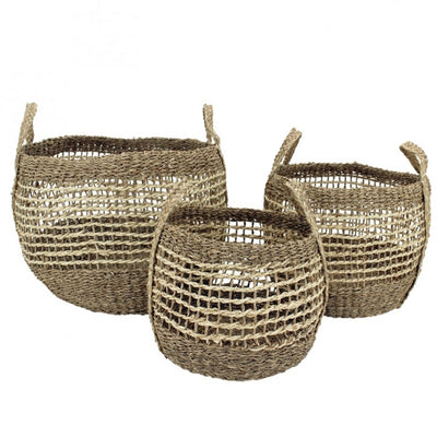 S/3 Seagrass Black Baskets
