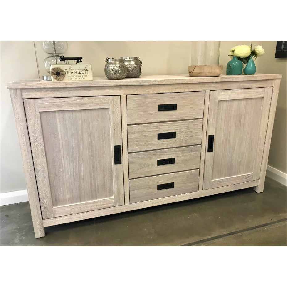 Beech Buffet 2 door 4 drawer Brushed White