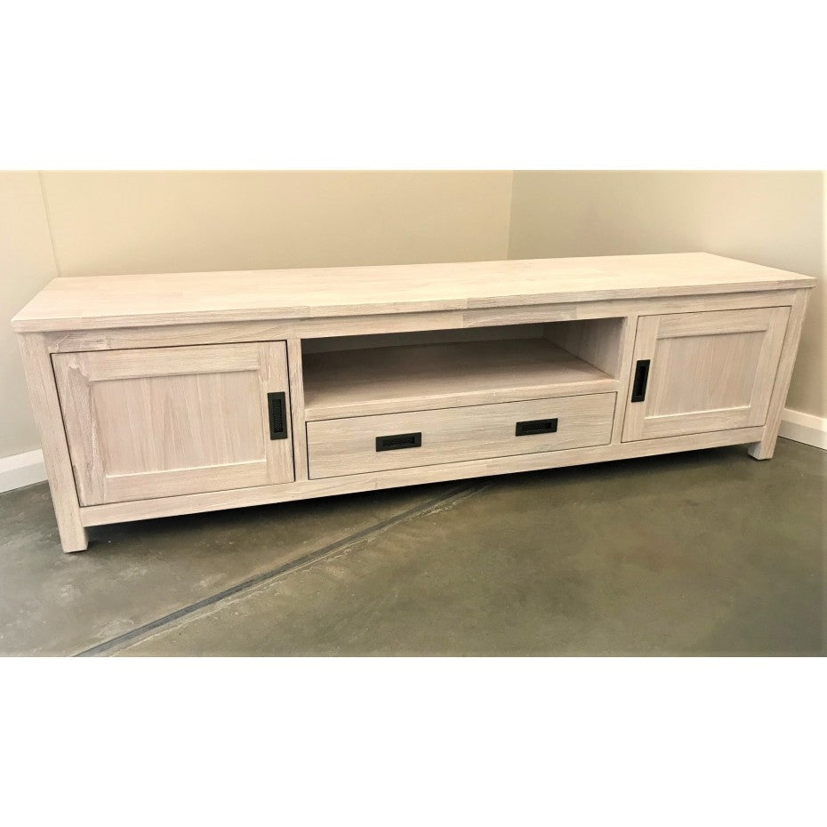 Beech 2000 Large TV Unit Brushed White 2 Door 1 Drawer 1 Niche