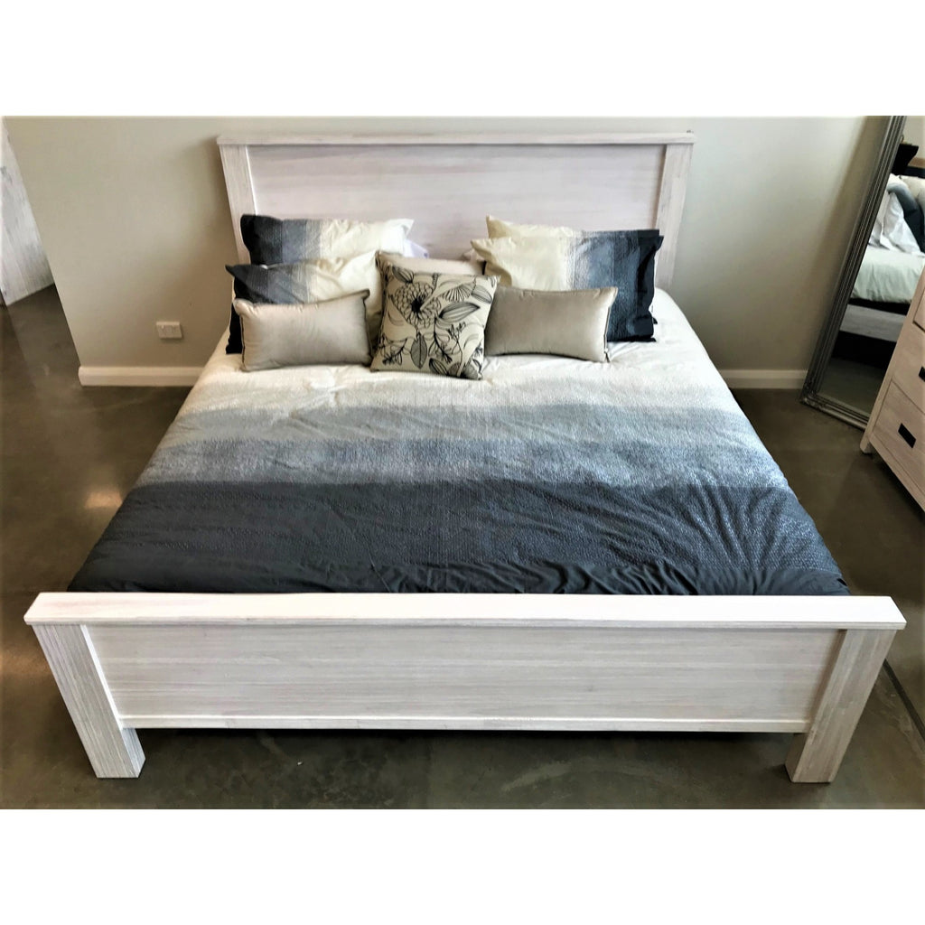 Beech Queen Bed Brushed White