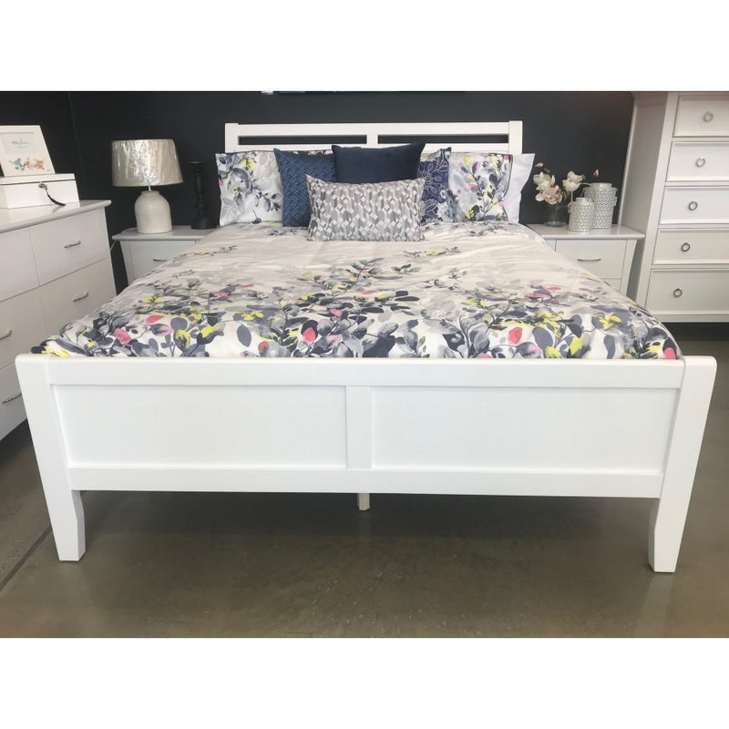 Stella Double Bed White Gloss Timber may display minor cracking & imperfections.