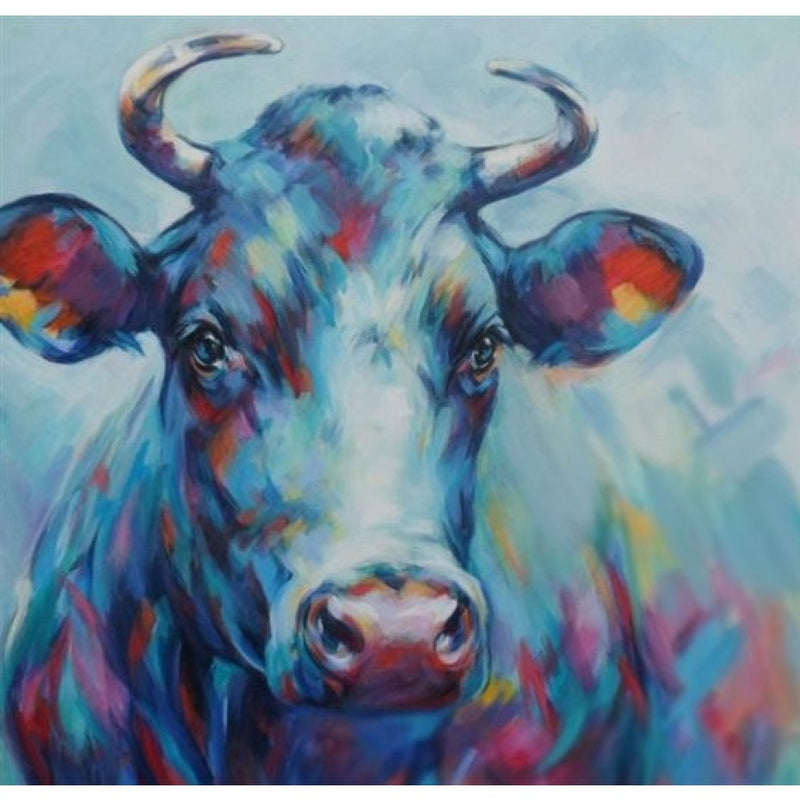 Midnight Blue Cow Oil Canvas 100x100