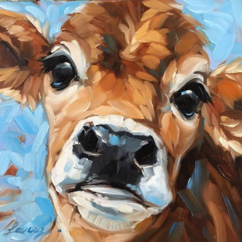 Sweet Jersey Cow Oil Canvas 100x100