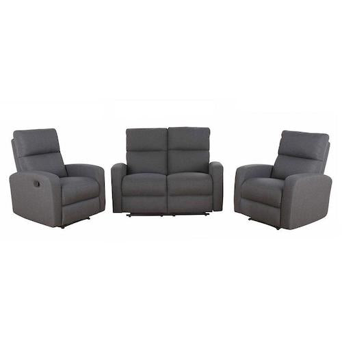 Oslo 2 Seater Loveseat + 2 Single Recliners Lounge Suite