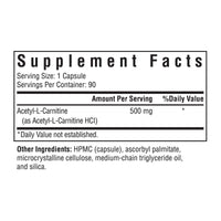 Seeking Health, Acetyl -L-Carnitine 90 Vegetarian Capsules, Supplement Facts