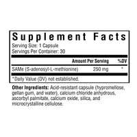Seeking Health, SAMe - 30 Capsules, Supplement Facts