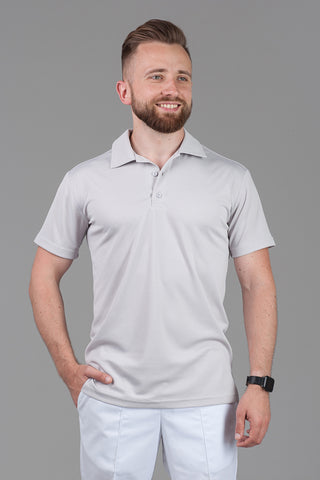 "Men's polo-shirt ""Coolmax"" (light gray)"