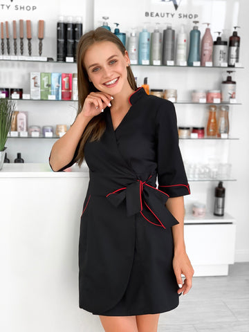 "Lab Coat ""Polina"" black & red"