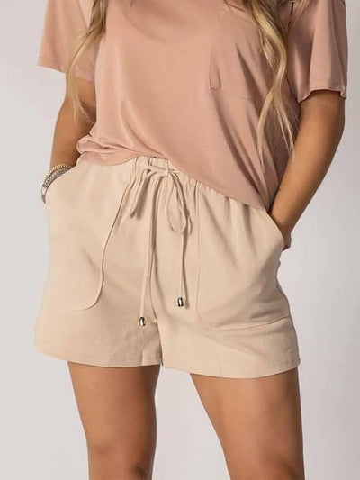 Solid Drawstring Stretch Waist Casual Shorts