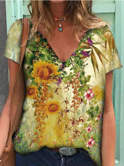 Casual Floral Print V-Neck Short-Sleeved T-Shirt