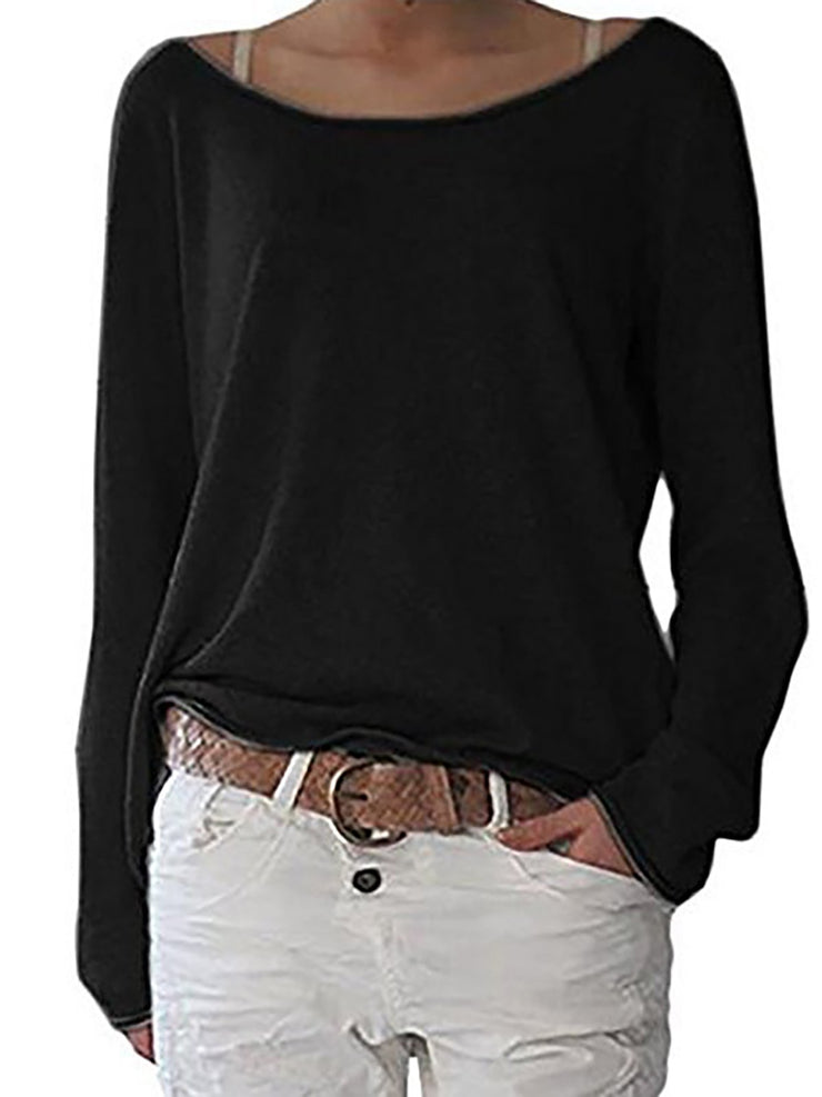 Crew Neck Long Sleeve Cotton Solid T-Shirt
