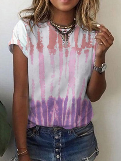 Holiday Ombre/tie-Dye Crew Neck Shirts & Tops