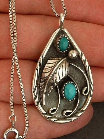 Inlaid Turquoise antique dyed black feather Necklace
