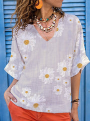 V Neck Floral Half Sleeve Shirts & Tops