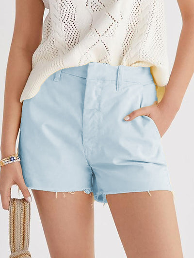 Holiday Blue Cotton-blend Solid Shorts