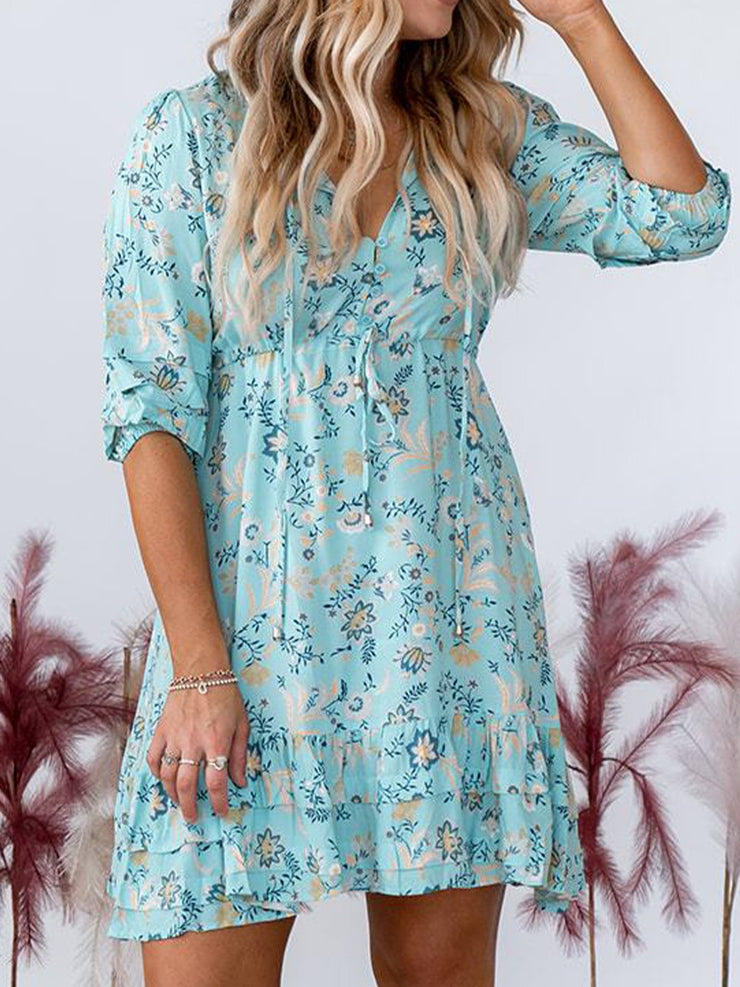 Short Sleeve Floral Cotton-Blend Boho Dresses