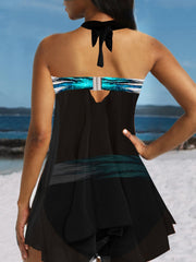 Halter Neck Printed Asymmetric Hem Swimdress and Panty Swimwear Swimsuit Bathing Suit