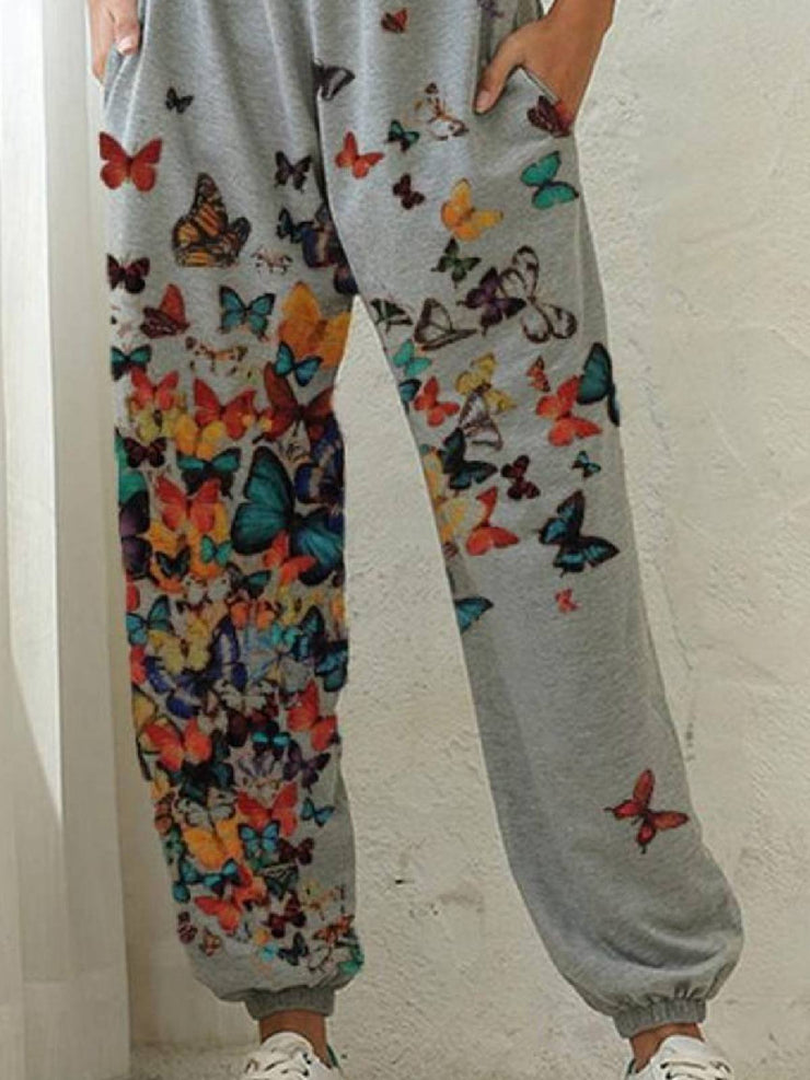 Daily Floral-Print Casual Butterfly Pants