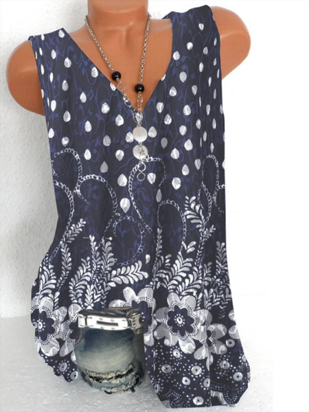 Navyblue Geometric Floral-Print Casual Shirts & Tops