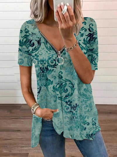 Paisley  Short Sleeve  Zipper  Cotton-blend  V neck  Vintage  Summer  Blue Top