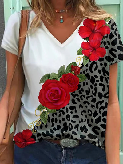 Leopard V Neck Casual Shirts & Tops