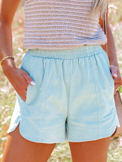 Solid Cotton-Blend High Rise Elastic Waistband Side Pocket Shorts