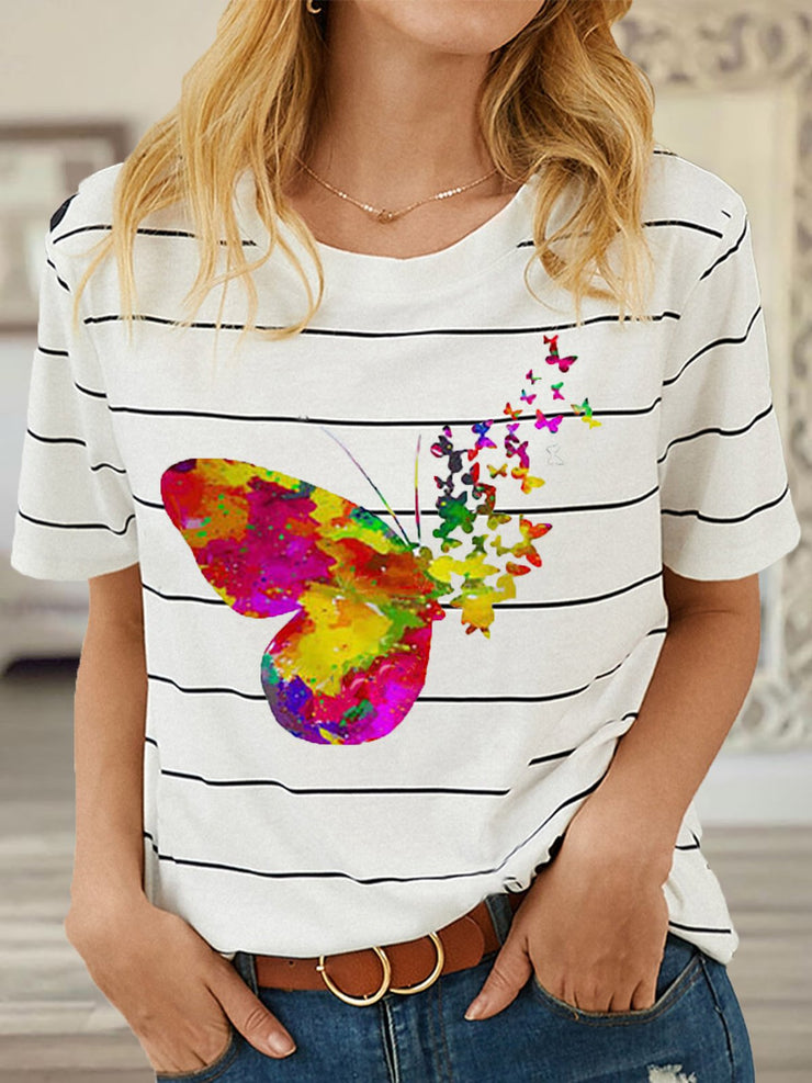 Striped Butterfly Printed Round Neck Casual T-Shirts