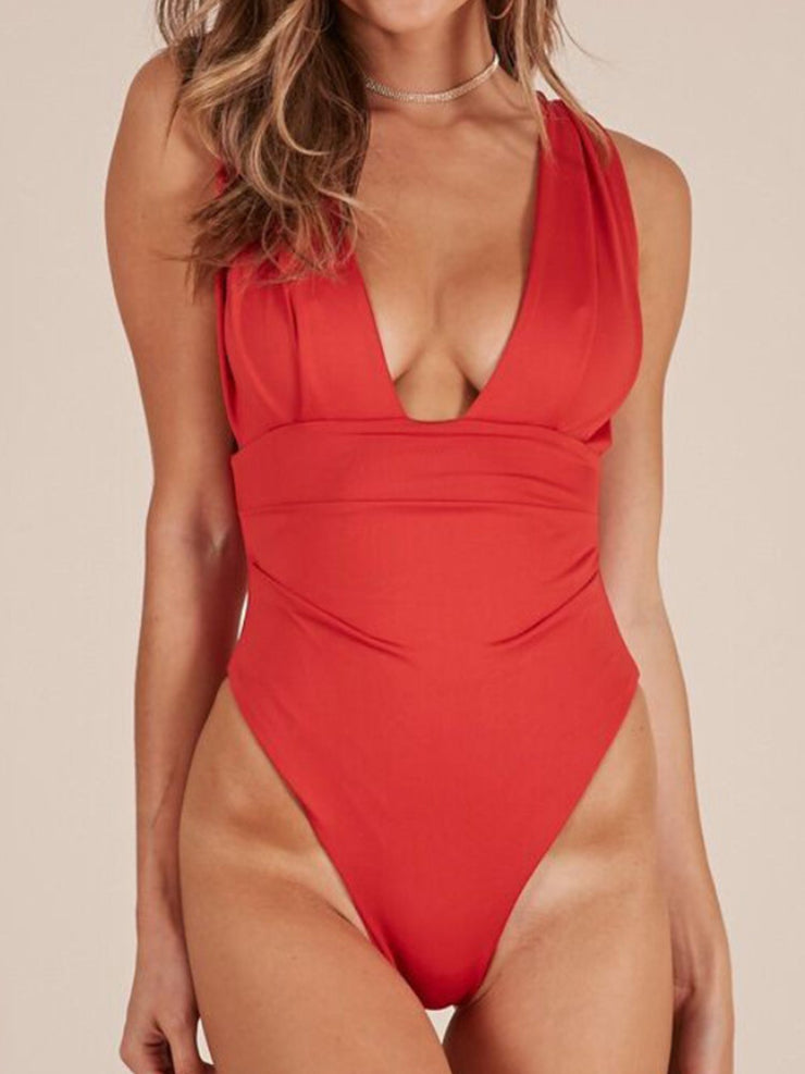 Cold Shoulder Sexy V Neck One-Pieces