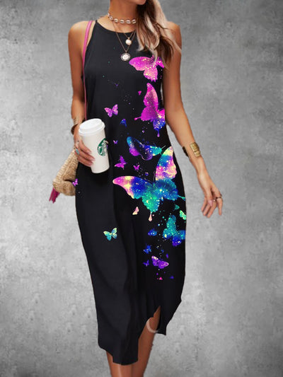 Cotton-Blend Casual Butterfly Dresses