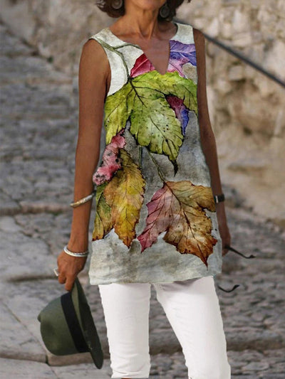 Sleeveless Casual Leaves Shift Shirts & Tops