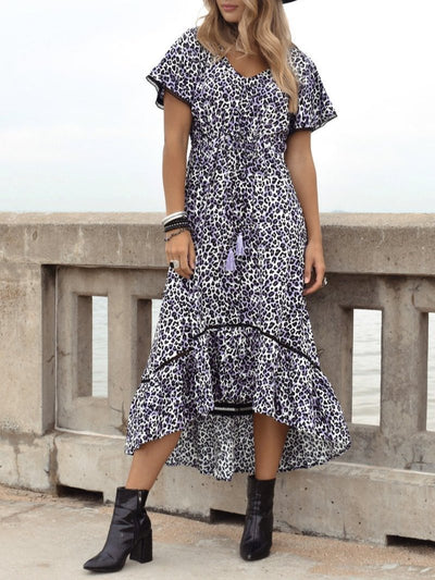 Casual Holiday Short Sleeve Leopard Dresses