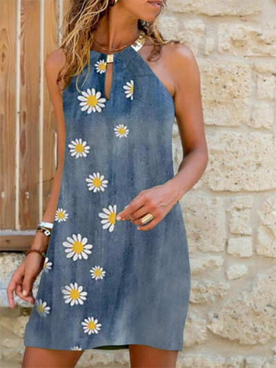 Floral-print Sleeveless Off Shoulder Casual Dresses