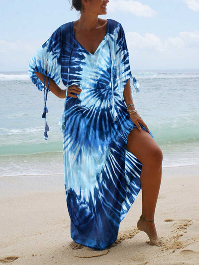 Ombre/tie-Dye Casual Short Sleeve Dresses