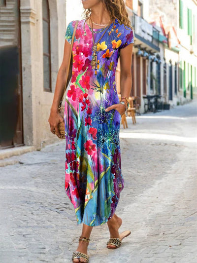 Short Sleeve Boho Floral Dresses