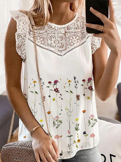 Casual Sleeveless Printed Cotton Shirts & Tops