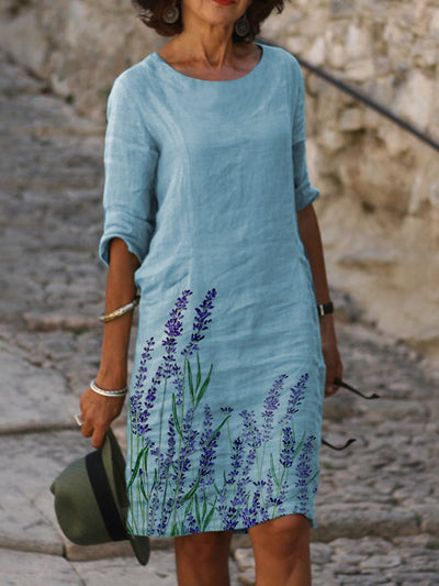 Summer Leisure fFloral Lavender Shift Plants Casual Dresses