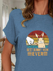 Casual BEST BUNNY MOM Animal Printed Short Sleeve T-Shirts