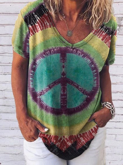 Ladies tie-dye printed T-shirt