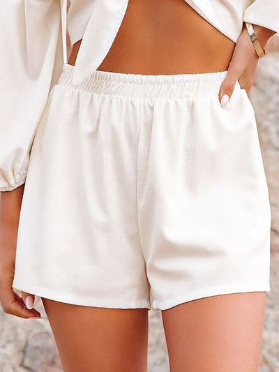 Casual High Rise Elastic Waistband Side Pockets Solid Shorts
