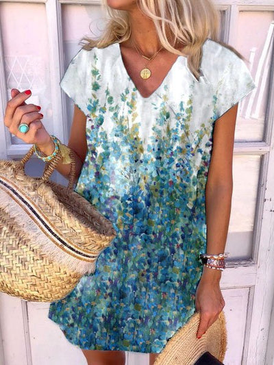 Casual Floral Printed Short Sleeve Dresses