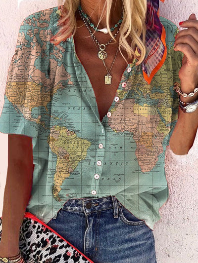 Plus-size printed shirt with map design
