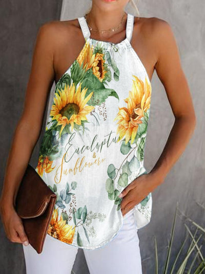 Womens Sunflower Print Loose Tops
