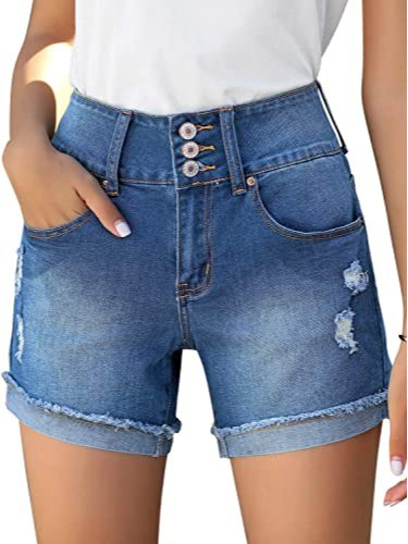Women's Casual High Waist Cuffed Hem Stretchy Jean Shorts