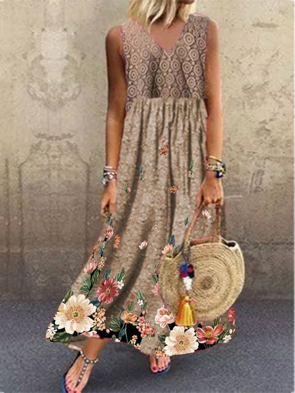 Casual Holiday V Neck Sleeveless Geometric Floral Printed Dresses