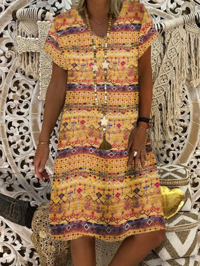Tribal Short Sleeve A-Line Printed Dresses