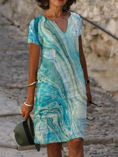Summer Leisure Abstract Ocean Wave Gradient Color Short Sleeve Ombre/tie-Dye Shift Dresses