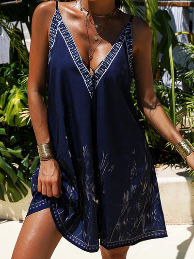Floral  Sleeveless  Printed  Polyester  V neck  Sexy Summer Blue Dress