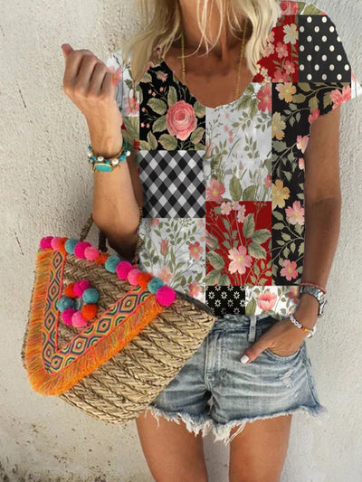 Short Sleeve Casual Floral-Print Shirts & Tops